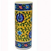 Stop Here Hand Painted Flower Vase(6-8 Inches,Blue, Yellow)
