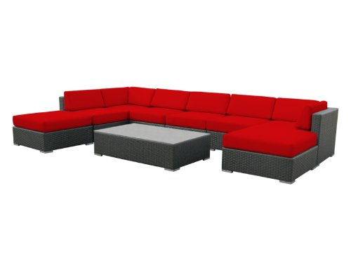 Luxxella Outdoor Patio Wicker MALLINA Sofa Sectional Furniture 9pc All Weather Couch Set RED