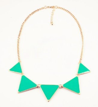 niceEshop(TM) Fashion Triangle Collar Necklace Choker Punk Style Glaze Geometric Pendent-Green