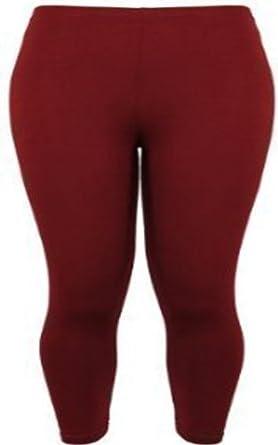 New Ladies Plus Size Stretch Jersey Leggings Womens Plain Elasticated Trousers Long Pants Burgundy Size 12 - 14