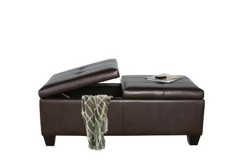 BEST Alfred Brown Leather Storage Ottoman