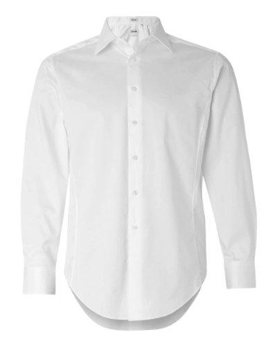 Calvin Klein Mens Slim Fit Cotton Stretch Dress Shirt. 13Ck023 - Medium - White