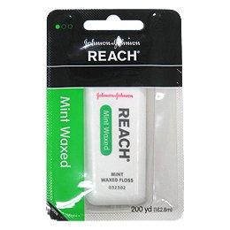輸入品 J&J REACH デンタルフロス ワックスつきミント 200ヤード 182.8m