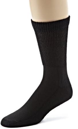 ECCO Men's Crew Anklet Diabetic Sport Socks, Black, 10-13