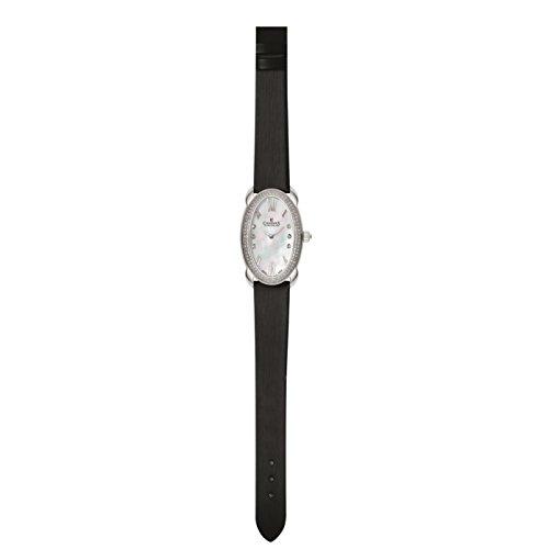 Charmex Tuscany Femme Noir Cuir Bracelet Acier Inoxydable Boitier Montre 6261