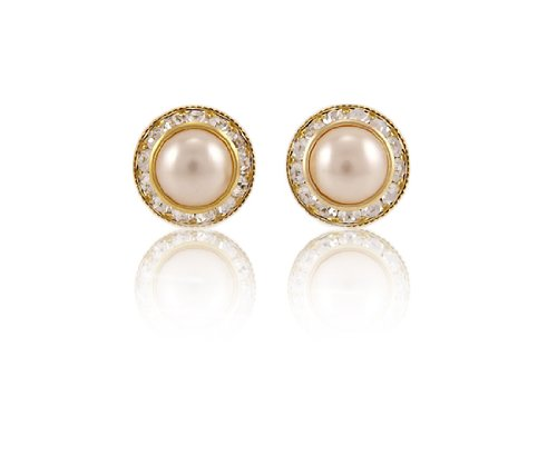 Park Lane Gold-Tone Classic Pearl Clip On Earrings