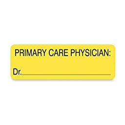 Tabbies Labels for Primary Care Physician, 1 x 3, Yellow, 250/Roll
