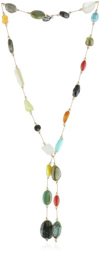 Margo Morrison New York Multi-Color multi-Gemstone Crystal Lariat, 22