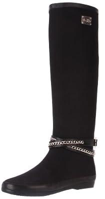 dav Women's Festival Solid Belted Rain Boot,Black,7 M US