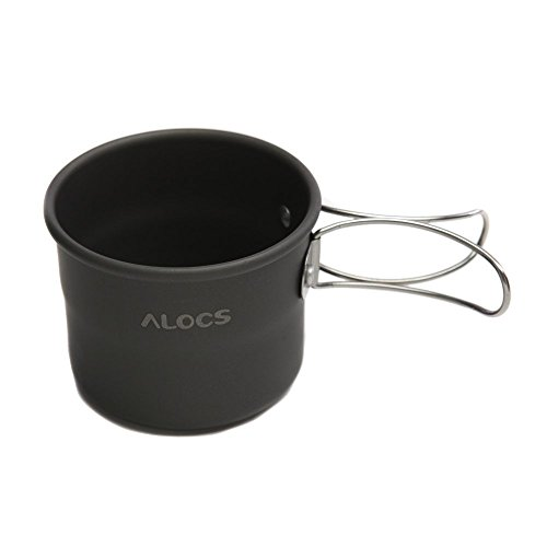 ALOCS TW-402 Portable Aluminum Oxide Outdoor Camping Cup Foldable Handles 150ml by Alocs