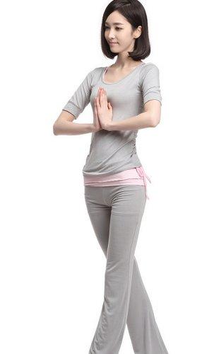 Tonwhar Womens Organic Sports Clothes Soft Comfortable Yoga Wear Set 3 Pieces (L, Gray) front-579158