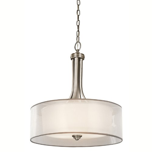 Kichler Lighting 42385AP Lacey 3-Light Inverted Pendant, Antique Pewter with Cased Opal Inner Diffusers and White Organza Translucent Outer Shades