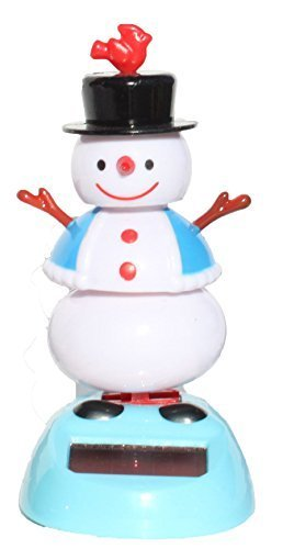 2014 New Version ~ Snowman in Blue Coat Solar Toy - 1