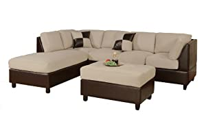 Bobkona Hungtinton Microfiber/Faux Leather 3-Piece Sectional Sofa Set, Mushroom