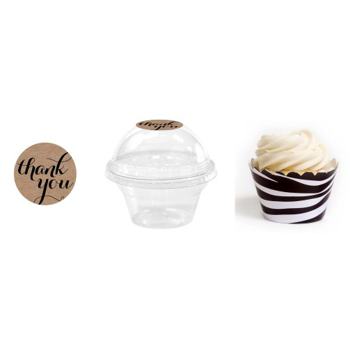 Dress My Cupcake 24-Pack Kraft Dessert Table Label Kit, Includes Favor Dome Containers, Thank You! Label and Wild Zebra Print Wrapper (Dessert Table Containers compare prices)