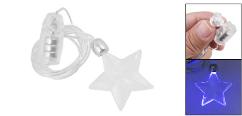Rosallini Blue Lighting LED Plastic Star Shape Pendant Necklace