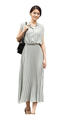 Women Ladies Chiffon Beach Dress Sleeveless Pleated Boho Long Sundress Skirt