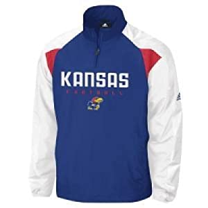 Kansas Jayhawks Adidas Coaches Pullover Jacket by adidas