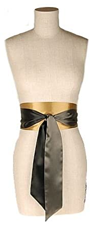 L. Erickson USA Color Block Obi Sash Belt - Black/Honey Jar/Storm