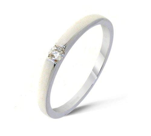 Moderner 9 Karat (375) Weißgold Solitär Verlobung Damen – Diamant Ring Brillant-Schliff 0.10 Karat JK-I3 günstig bestellen