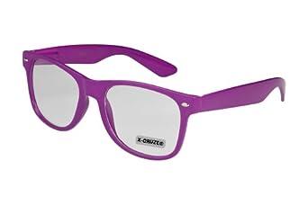 Nerd Brille ohne Stärke im Wayfarer Stil Klarglas Hornbrille Modebrille Streberbrille lila
