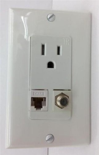 Hubbell Ac 15A 110V Power Outlet + F-Type Coax Tv + Cat-6 Hd 3Dtv White Wall Plate