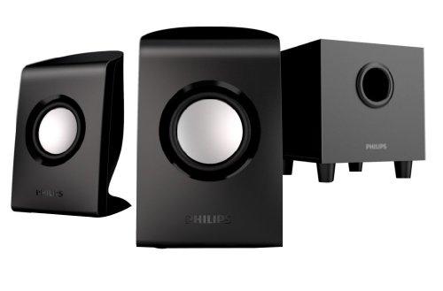 Philips SPA1330/12 PC-Lautsprecher 2.1 (20 Watt RMS, Bass Reflex System, 3,5 mm Klinkenstecker, USB 2.0) schwarz
