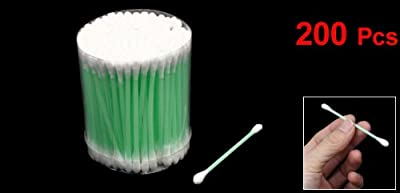 200pcs Dual End Green Plastic Pipe Cotton Swab Bud Earwax Remover Pick