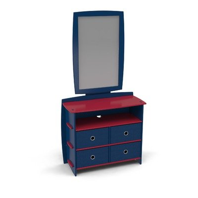 Cheap Legare Furniture DRNM-120 / MRVM-110 Legare Kids Dresser and Mirror Set in Black and Red (DRNM-120 / MRVM-110)