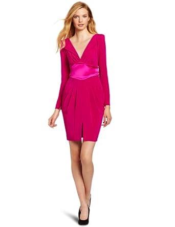 (1.7折)Catherine Malandrino V-Neck Dress美国产女子玫红真丝连衣裙$114.29