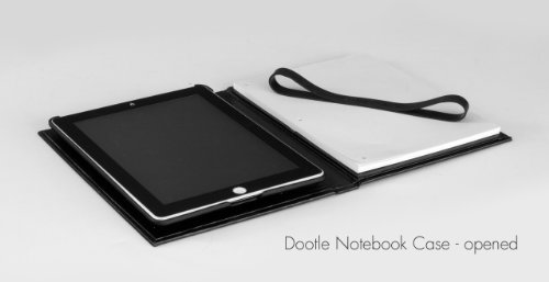 Grifiti Dootle Notebook Case for Apple iPad 2 3 4 with Classic Casebound Hard Back Book Exterior in Black, Removable Custom Fit Frame, Pen or Stylus Loop, Paper Writing Notepad and Notebook, Similar to Books and Folios