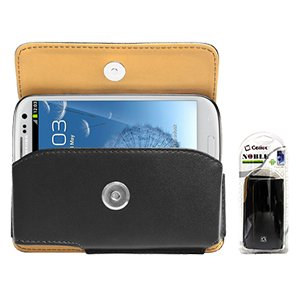 Black Noble Case For Samsung Galaxy S4 & S3 With Cellet Removable Spring Belt Clip With 1X Ultra Compact Micro Usb Data And Charger Cable - Black, 1X Cute Vitamin Image Ballpen