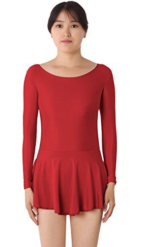[JustinCostume Women's Lycra Spandex Long Sleeve Ice-Skating Dress Dance Leotard, Red Wine, M] (Roller Skating Costumes)