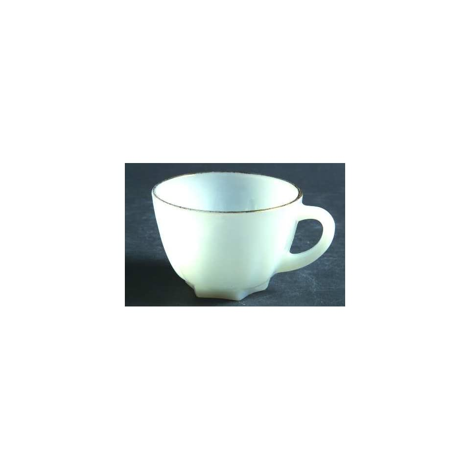 Fire King Anchor Hocking 1950s Milk Glass Cup W Gold Trim Cryst Classic Pattern
