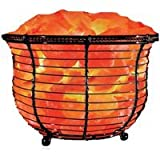 WBM Natural Air Purifying Himalayan Salt Lamp with Salt Chunks, Bulb and Dimmer Control, Round Basket Style