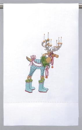 Patience Brewster Dashaway Dasher Tea Towel - Krinkles Christmas Décor New 08-30489
