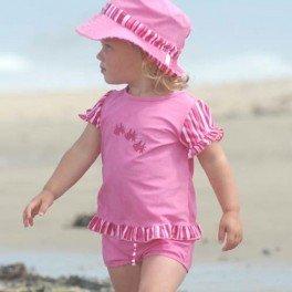 Lion in the Sun Girls Kids Short Sleeve UV Surf Combo Swim Set Rose Stripe