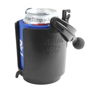 Ram Mount Self-Leveling Cup Holder with 1-Inch Ball and Cozy, Black
