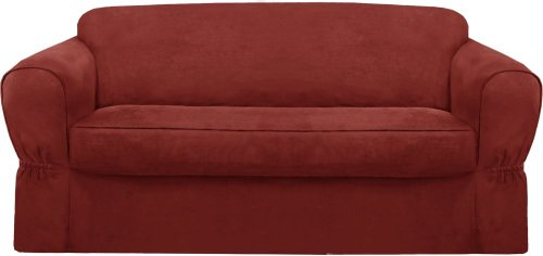 Maytex piped suede 2 piece sofa slipcover red home decor for Separation decorative entre 2 pieces