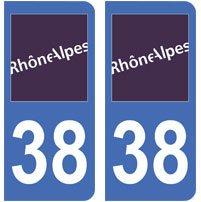 2-autocollants-38-Isre-plaque-immatriculation-dpartement-auto-38-angles-arrondis