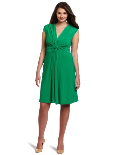 Wrapper Women's Plus Size V-Neck Dress With Gathered Knot Front Detail