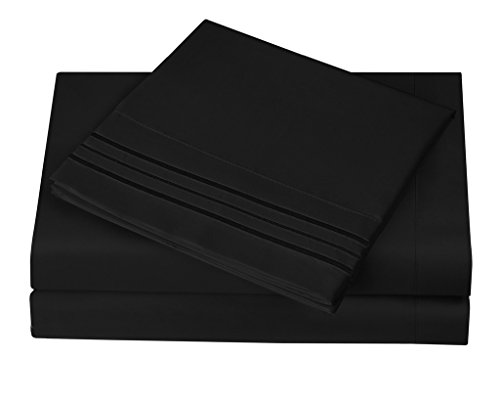 1800 Series Egyptian Collection 3 Line Microfiber 4 Piece Bed Sheet Set (Full, Black) (Black Bed Sheets compare prices)