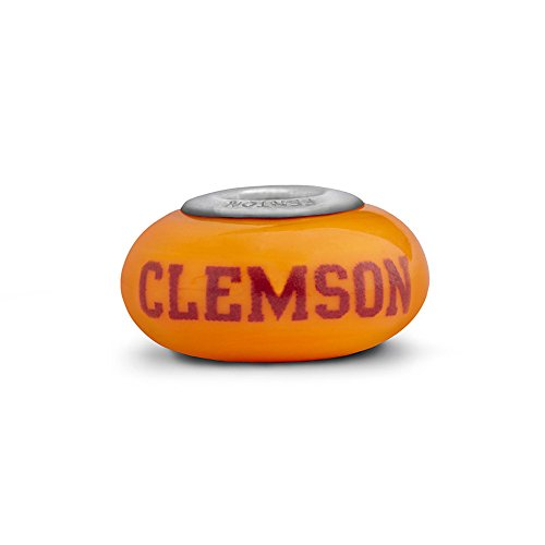 Clemson Tigers Fenton Glass Bead Fits Most European Style Charm Bracelets