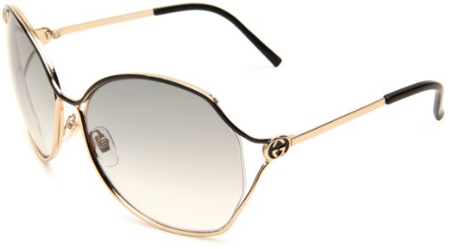 Gucci Women's 2846/S Round Sunglasses,Gold & Black Frame/Grey Gradient Lens,One Size