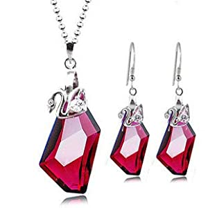 Garnet red crystal with Swarovski elements 925 sterling silver fashion irregular shape necklace earrings bride wedding engagement jewelry set