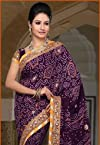 Violet Pure Georgette Saree With Blouse