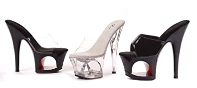 Women's 6 Inch Pointed Stiletto Mule (Clear;11)