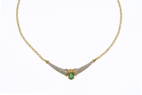 9ct Yellow Gold Diamond and Emerald Ladies' Necklace
