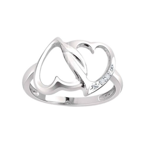 Platinum Plated Sterling Silver Natural Diamond Double Heart Promise Ring
