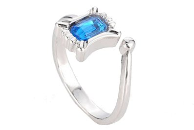 .925 Sterling SilverBlue Rhinestone Open Back Adjustable Ring Band